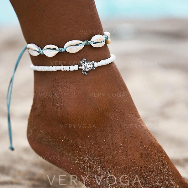 Fashionable Cool Alloy Braided Rope With Shell Beach Jewelry Anklets (Set of 2)