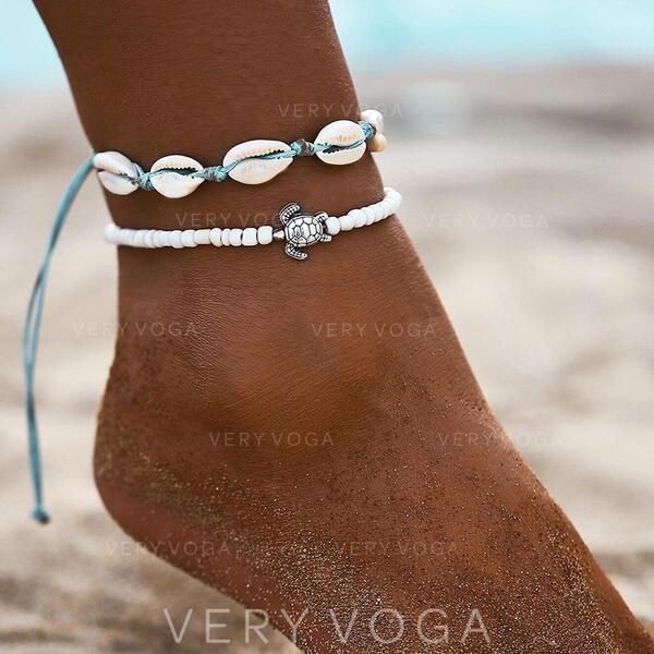 À la mode Refroidir Alliage Corde tressée avec Coquille Bijoux de plage Bracelets de cheville (Lot de 2)