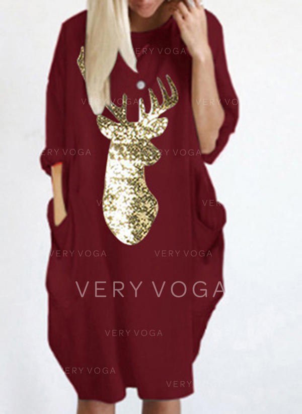 Animal Print Long Sleeves Shift Knee Length Christmas/Casual Dresses