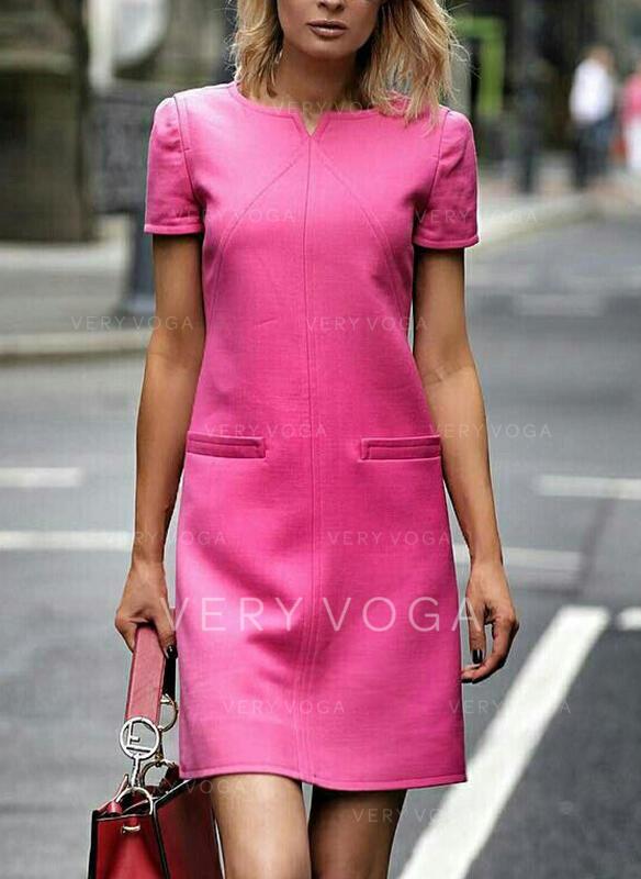 Einfarbig Kurze Ärmel Shift Über dem Knie Elegant Kleider