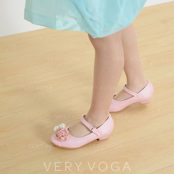 fafd6392b50 Κορίτσι Λείαντο Χαμηλή τακούνια Κλειστά παπούτσια Διαμερίσματα Κορίτσι  λουλουδιών Με Πόρπη Απομιμήσεις Pearl Σατινέ λουλούδι