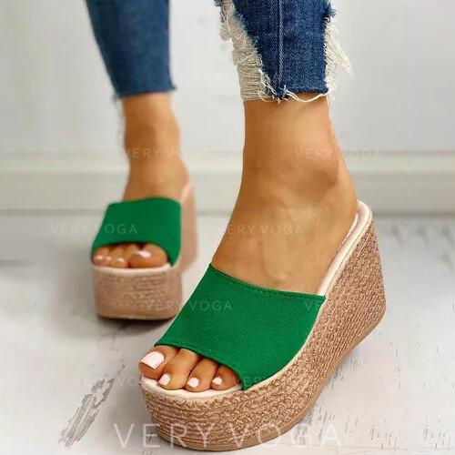Women's Suede Wedge Heel Sandals Wedges Peep Toe Slippers Heels shoes