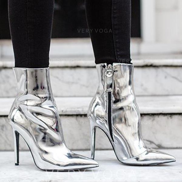 Femmes Cuir verni Talon bobine Escarpins Bout fermé Bottes Bottines avec Zip chaussures