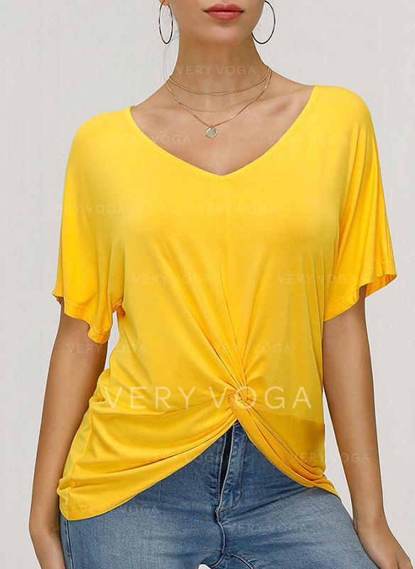 Jednolity Dekolt w kształcie litery V Krótkie rękawy Casual Dzianina T-shirty