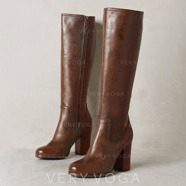 Mulheres Couro Salto robusto Botas Bota no joelho com Zíper sapatos