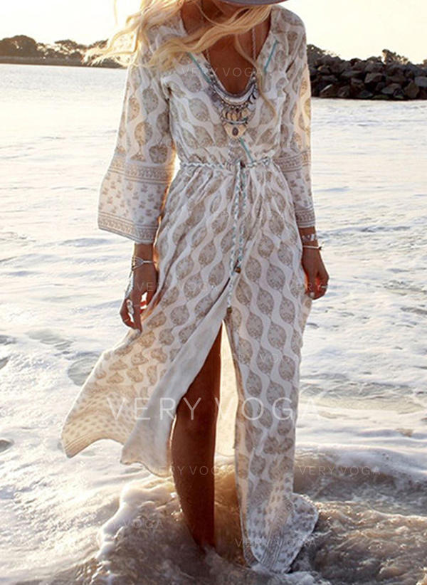 Print Long Sleeves A-line Casual/Boho/Vacation Maxi Dresses