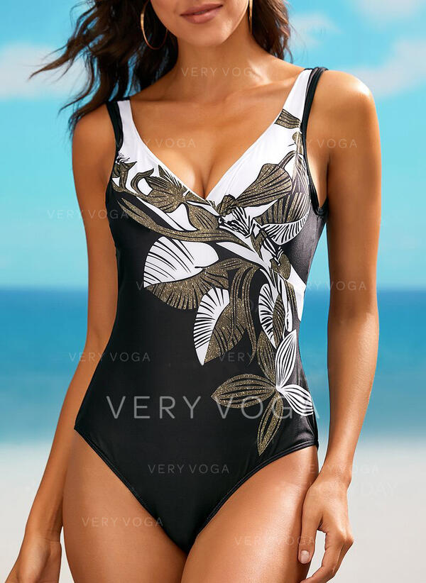 Leaves Print V-Neck Bohemian One-piece Swimsuits