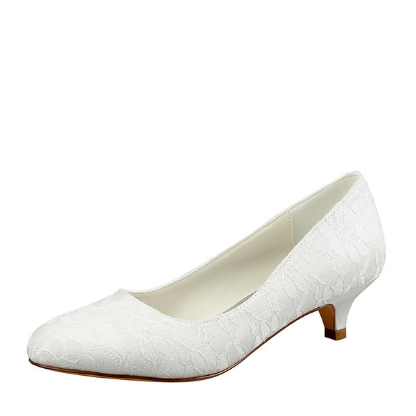 470fb142ae1 Women s Lace Silk Like Satin Kitten Heel Closed Toe Pumps (047143530 ...