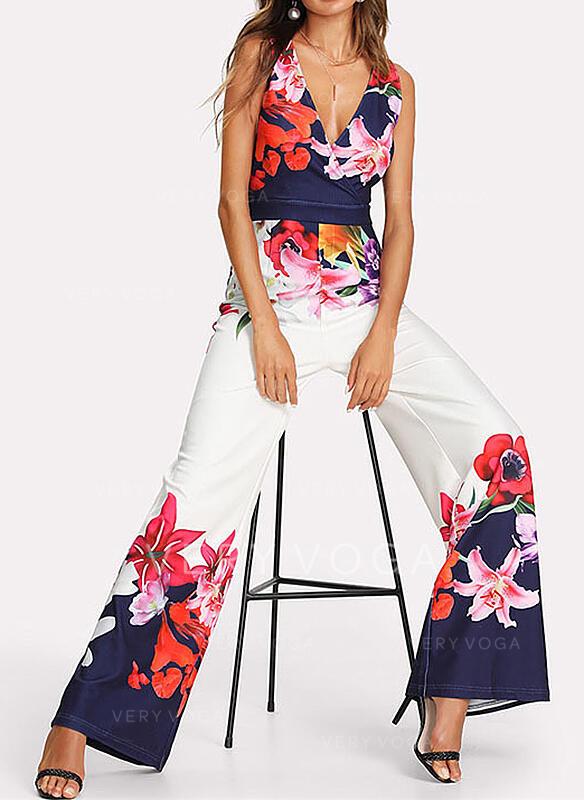 Floral Print V-Neck Sleeveless Elegant Party Jumpsuit