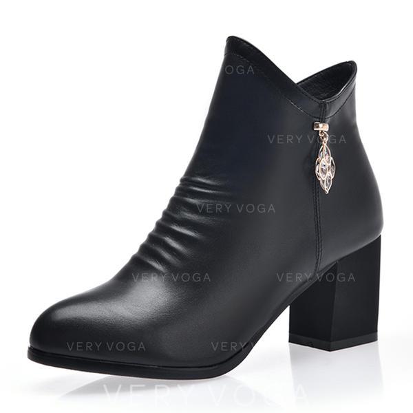 6a962b1832b De mujer Cuero Tacón ancho Salón Cerrados Botas Botas al tobillo con  Cremallera zapatos