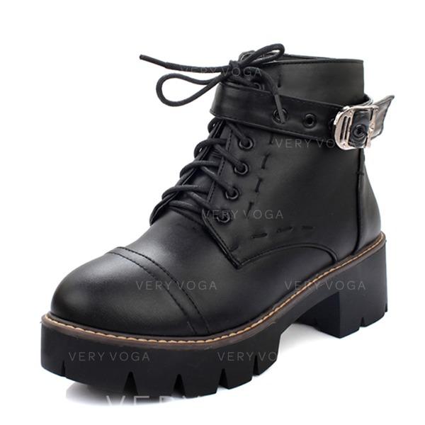 Mulheres Couro Salto robusto Botas Bota no tornozelo Martin botas com Aplicação de renda sapatos