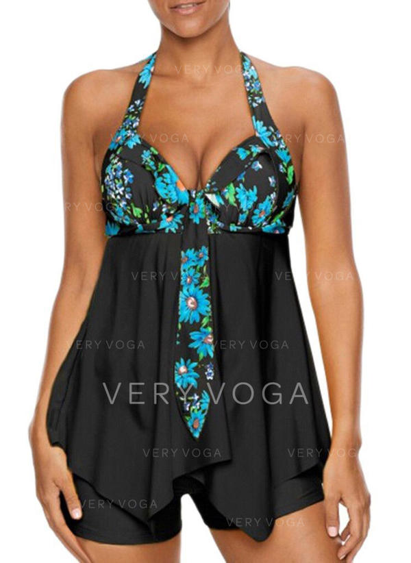 Floral Halter Beautiful Tankinis Swimsuits