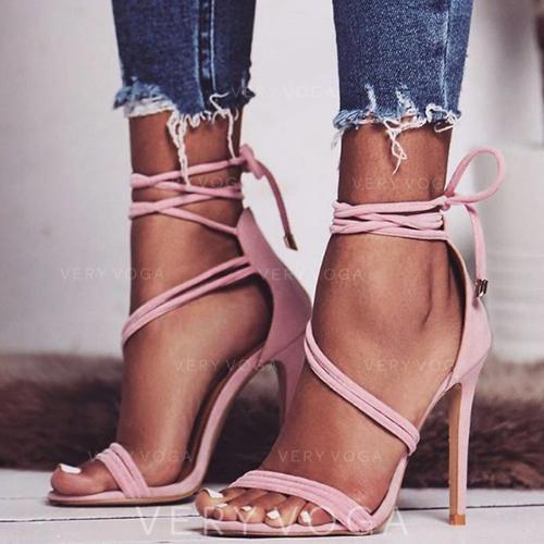 Mulheres PU Salto agulha Sandálias Bombas Peep toe com Outros sapatos
