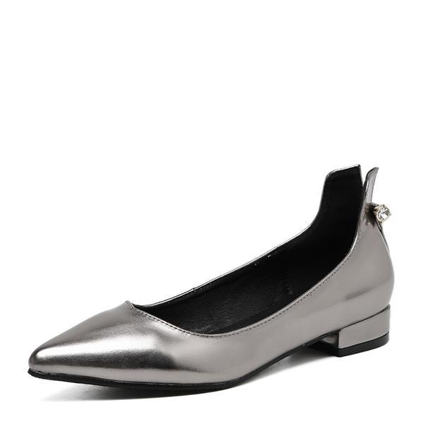 84cef5e33f1802 Women s PVC Flat Heel Flats Closed Toe With Rhinestone shoes ...