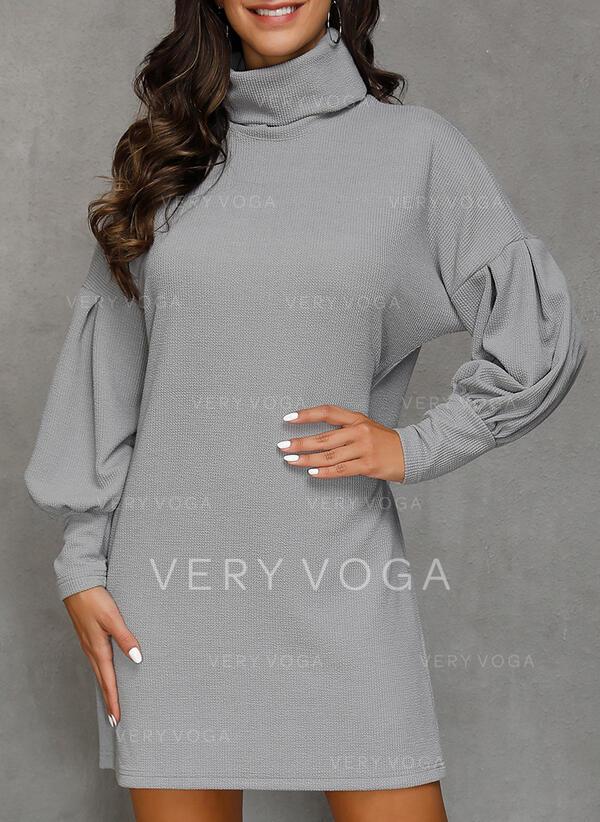 Solido Dolcevita Casual Lungo Abito maglione