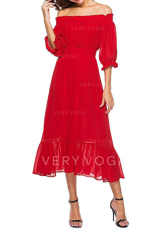 3bc1e0878bce Κοντά μανίκια Φαρδύ κάτω Midi Πάρτι φορέματα (199239018) - φορέματα ...
