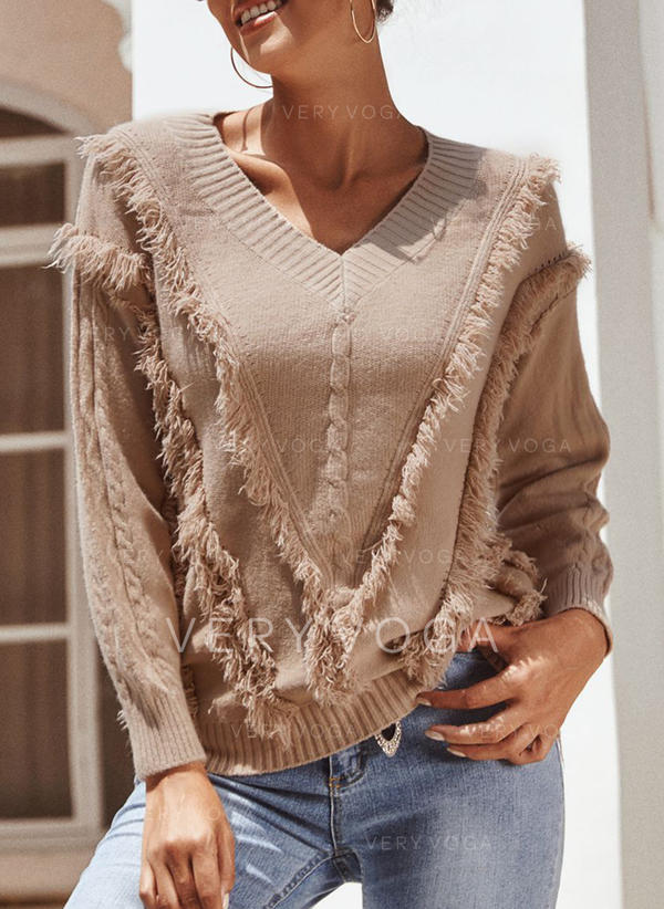 Solid Cable-knit V-Neck Sweaters