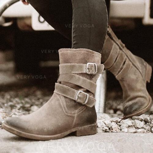 Dámské PU Nízký podpatek Boty S Přezka obuv