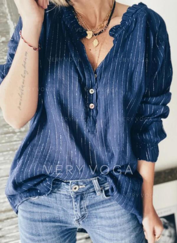Gestreept V-hals Lange Mouwen Dichtknopen Casual Overhemd