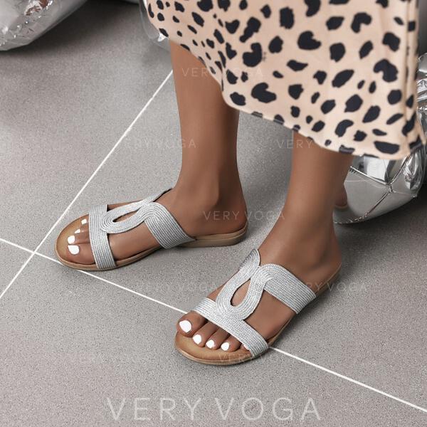 Mulheres Microfibra Couro Sem salto Sandálias Sem salto Chinelos sapatos