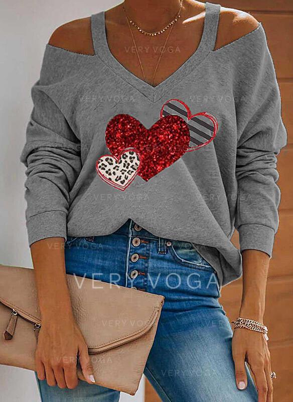 Impresión raya Leopardo Corazón Top Con Hombros Manga Larga manga de hombros fríos Casual Blusas