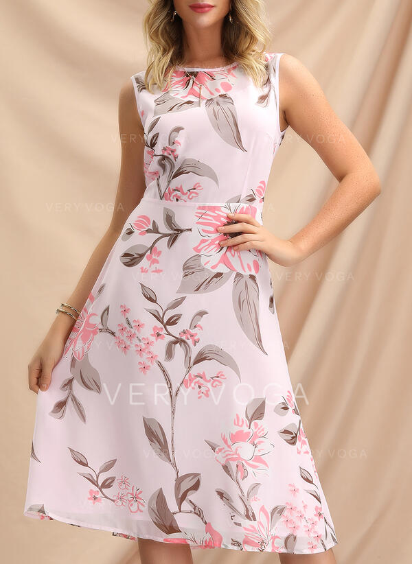Print/Floral Sleeveless A-line Knee Length Vintage/Party/Elegant Skater Dresses