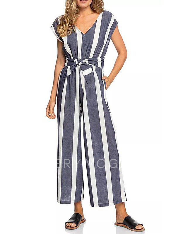 Striped V-Neck Cap Sleeve Casual Jumpsuit