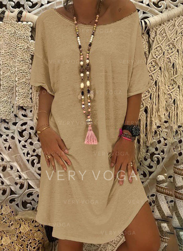 Solid 1/2 Sleeves Shift Knee Length Casual/Vacation Dresses