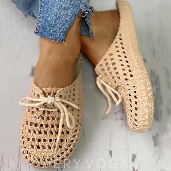 Mulheres PVC Casual com Aplicação de renda Oca-out sapatos