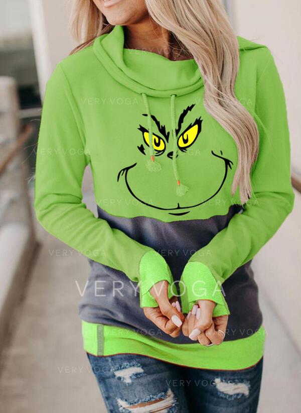 Друк Колірний блок Довгі рукави Різдвяні светри