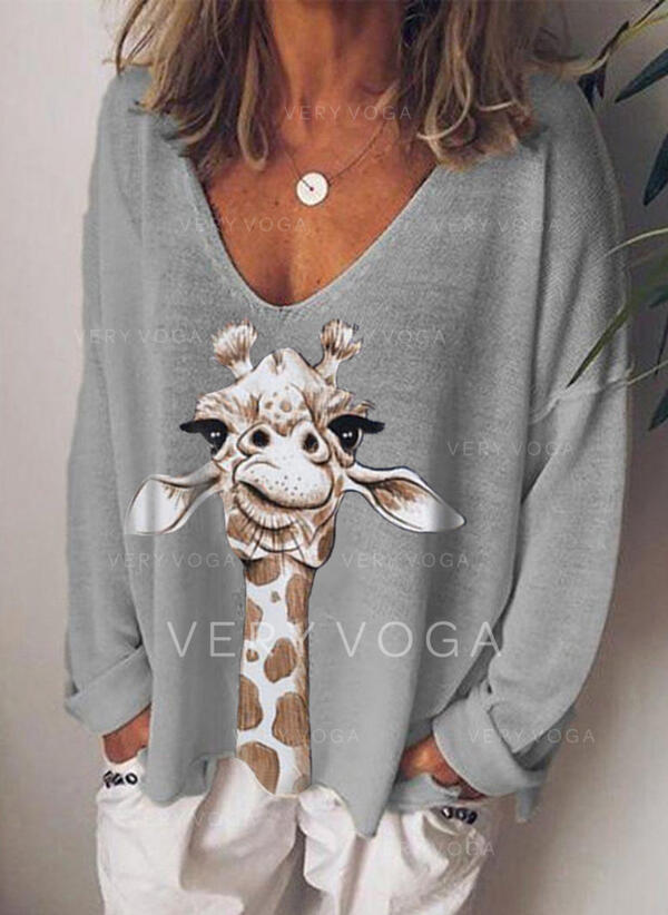 Estampado Animal Cuello en V Manga Larga Casual Blusas