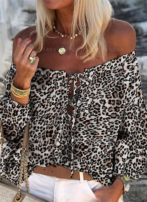 Print Leopard Off the Shoulder Long Sleeves Casual Blouses