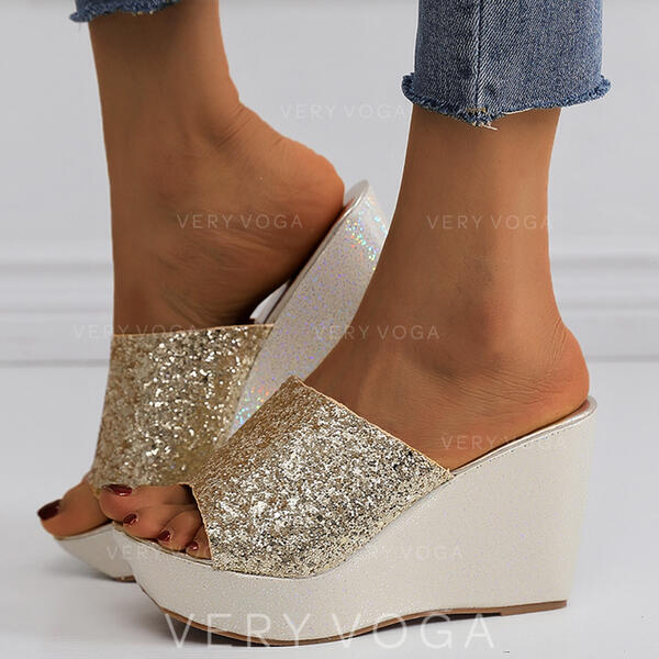 Women's PU Wedge Heel Sandals Slippers With Sequin Sparkling Glitter shoes