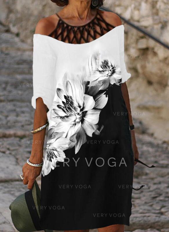 Nadrukowana/Kwiatowy/Wyszczuplająca Rękawy 1/2 Koktajlowa Długośc do kolan Casual Tunika Sukienki