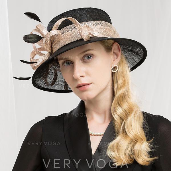 Dames Qualité/Romantique/Style Vintage Batiste avec Feather Chapeaux de type fascinator/Kentucky Derby Des Chapeaux/Chapeaux Tea Party