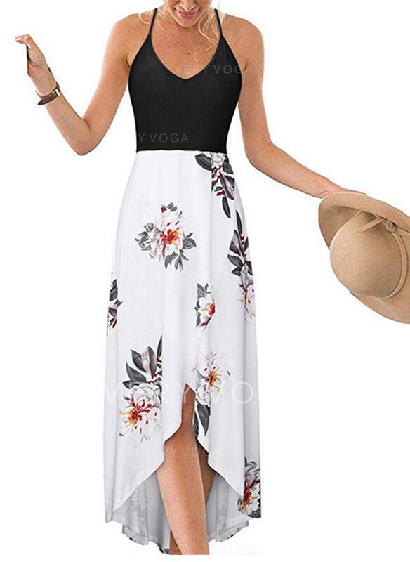 Estampado/Floral Sem mangas Evasê Casual/Férias Midi Vestidos