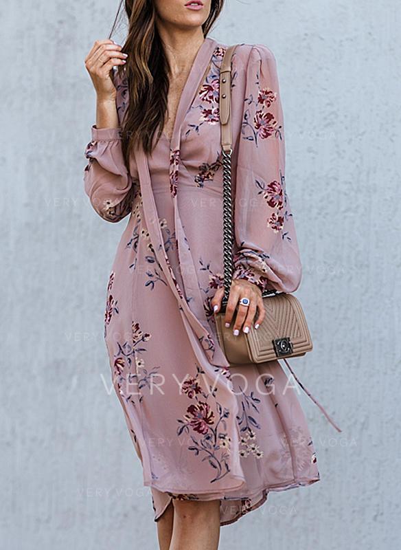 Nadrukowana/Kwiatowy Długie rękawy W kształcie litery A Casual Midi Sukienki