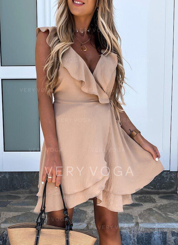 Solid/Backless Sleeveless A-line Above Knee Casual Wrap/Skater Dresses