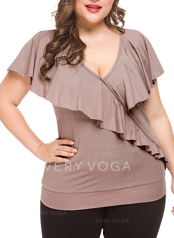 Solid V-Neck Short Sleeves Casual Plus Size T-shirts
