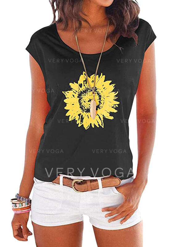 Sunflower Print Round Neck Cap Sleeve Casual T-shirts