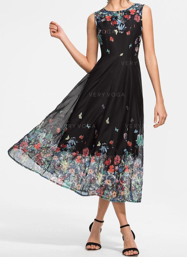 Druck/Blumen Ärmellos A-Linien Midi Vintage/Freizeit/Elegant/Boho Kleider