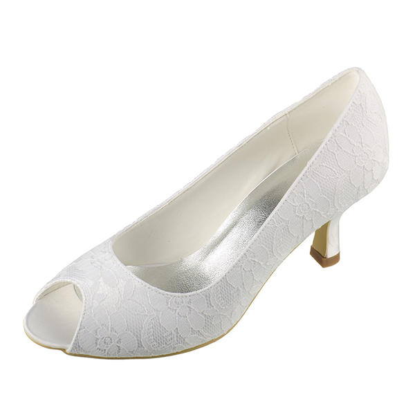 Frauen Lace Satin Spule Absatz Peep Toe Sandalen