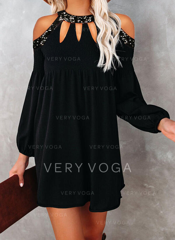 Sequins/Solid Long Sleeves Shift Above Knee Little Black/Elegant Tunic Dresses