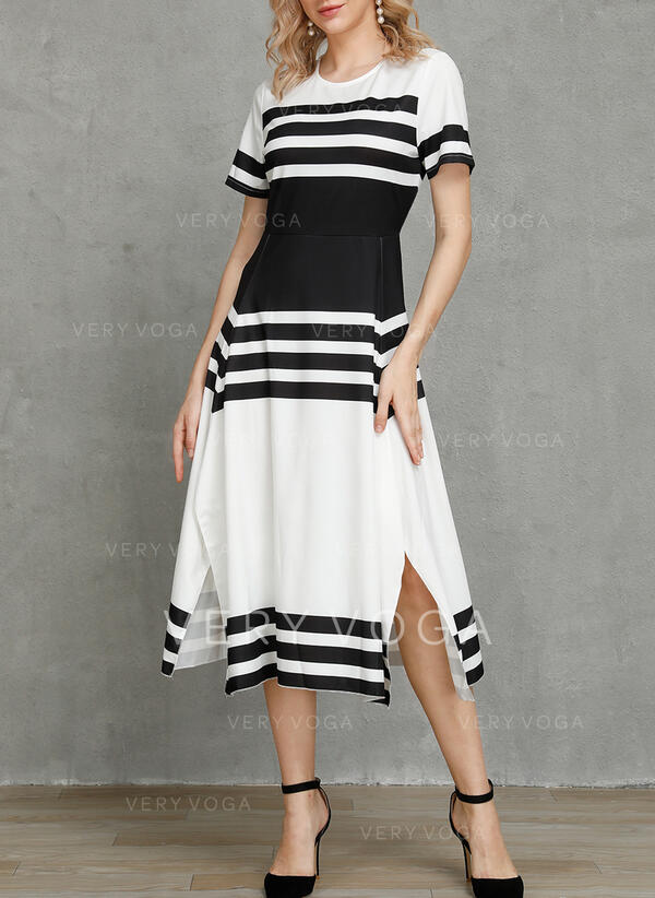 Color Block/Striped Short Sleeves A-line Skater Casual/Elegant Maxi Dresses