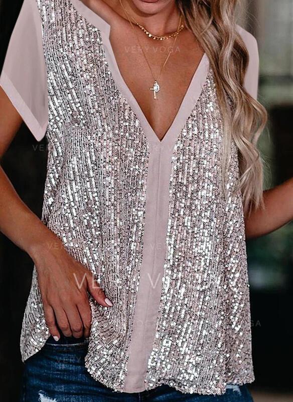 Cekiny Dekolt w kształcie litery V Krótkie rękawy Elegancki Bluzki