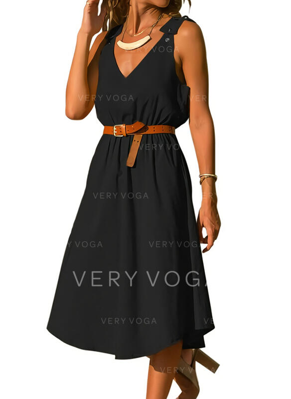 Solid Sleeveless A-line Skater Little Black/Casual Midi Dresses