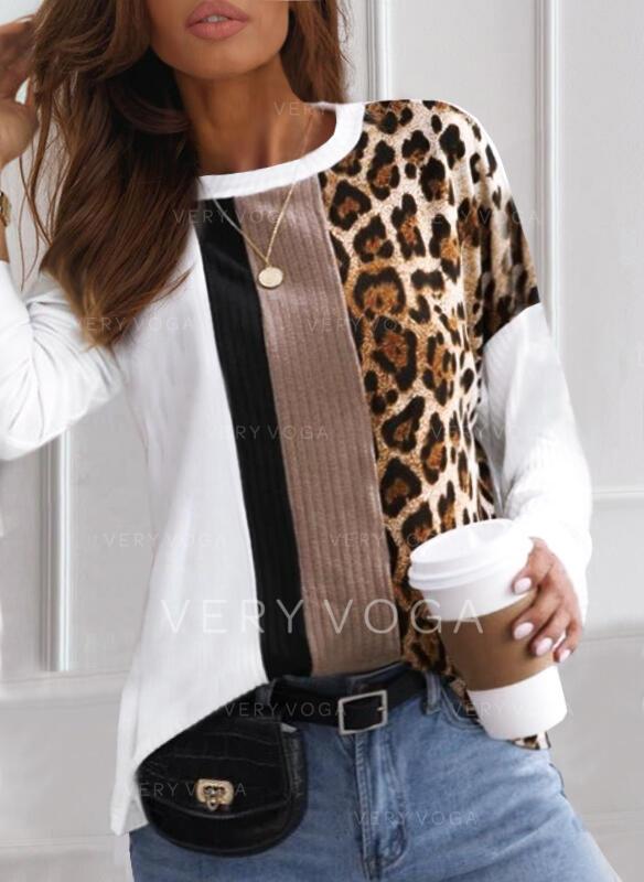 Geblockte Farben Leopard Rundhalsausschnitt Lange Ärmel Freizeit T-shirts