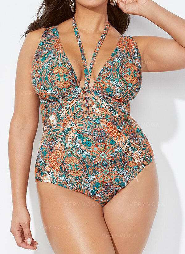 Print Strap Elegant Vintage Plus Size One-piece Swimsuits