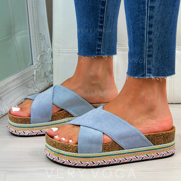 Women's Suede Flat Heel Sandals With Solid Color shoes