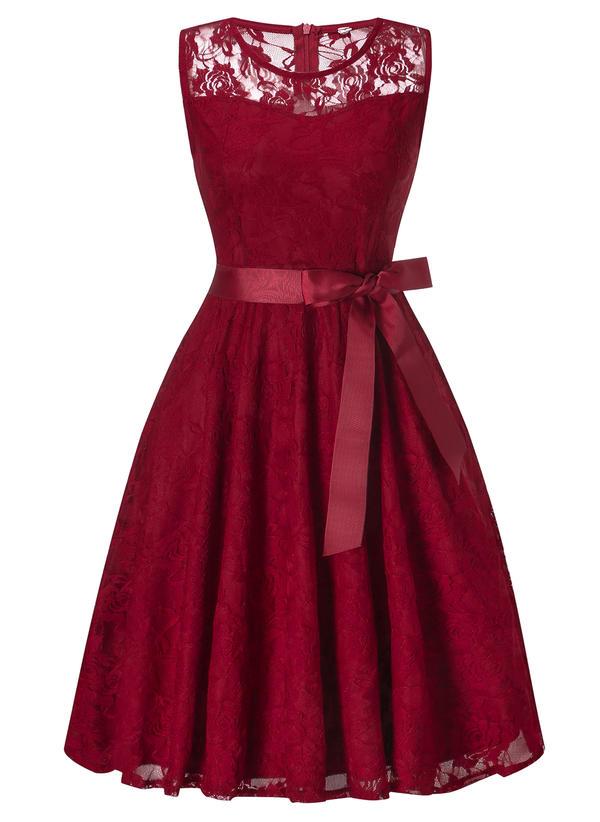 Dentelle/Couleur Unie Sans Manches Trapèze Longueur Genou Vintage/Fête/Élégante Robes